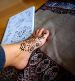 Henna Application & Design Royalty Free Stock Photos