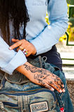 Henna art on woman's hand. In Cairo, Egypt Royalty Free Stock Photos