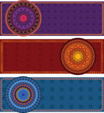 Henna Banners with mandala. Indian Henna art inspired banners Royalty Free Stock Photography