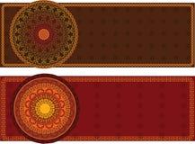 Henna Banners with mandala Stock Photo