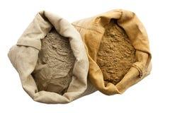 Henna basma  powder isolated white background. Linen sack Royalty Free Stock Photography
