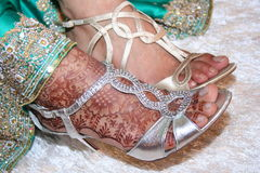 Henna on Bride's Feet Stock Image