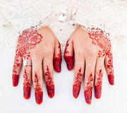 Henna on Bride's hand Stock Photos