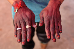 Henna colored hands in Udaipur, India Stock Photography