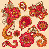 Henna Colorful Mehndi Tattoo Doodles Vector Stock Image