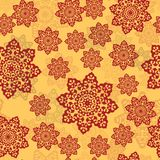 Henna color ornament of mandala on a yellow background. Endless Tile for oriental carpets, shawls, textiles, fabric Royalty Free Stock Photos