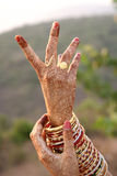Henna design on bride's hands Stock Photography