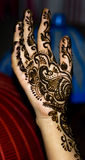 Henna design on hand. Mehandi: traditional Indian henna design on hand Royalty Free Stock Photo