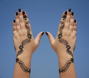 Henna design on hands Stock Photography