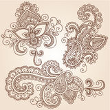 Henna Doodles Mehndi Tattoo Vector Design Elements. Hand-Drawn Henna Paisley Flowers Mehndi Doodles Abstract Floral Vector Illustration Design Elements Royalty Free Stock Images