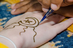Henna Drawn on Hand Stock Images