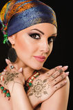 Henna, fashion, girl, lady, makeup, tattoo, veil, oriental, musl Stock Image