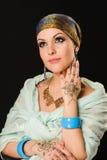 Henna, fashion, girl, lady, makeup, tattoo, veil, oriental, musl Royalty Free Stock Image