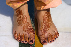 Henna on feet Royalty Free Stock Photography
