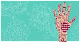 Henna Five Diwali-achtergrond, wijd Stock Afbeelding
