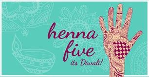Henna Five Diwali, de par en par Fotos de archivo libres de regalías