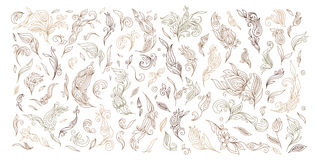 Henna floral tattoo doodle vector elements on white background Stock Photos