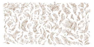 Henna floral tattoo doodle vector elements on white background Royalty Free Stock Photos
