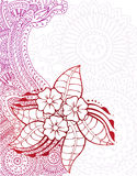 Henna with Flowers. Ornate henna design with tropical flowers and detailed background. Room for your text Stock Image