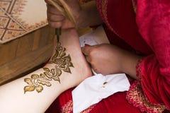 Henna on foot stock photo