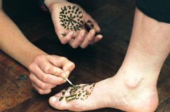 Henna Foot Painting Royalty Free Stock Images