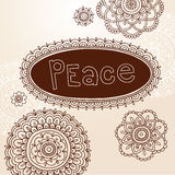 Henna Frame and Flower Doodle Vector Designs Stock Photography