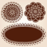 Henna Frame and Flowes Silhouette Vector Designs. Henna Mehndi Frame Border with Mandala Flower Silhouette Designs- Abstract Floral Paisley Design Elements Stock Photos