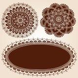 Henna Frame and Flowes Silhouette Vector Designs. Henna Mehndi Frame Border with Mandala Flower Silhouette Designs- Abstract Floral Paisley Design Elements stock illustration
