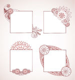 Henna Frames. Detailed hand drawn henna around frames for text or images Royalty Free Stock Photography