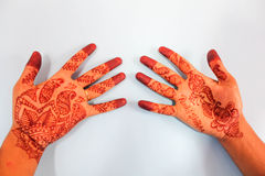 Henna on Groom's hand. Traditional indian henna on groom's hand with bride's name written using henna Stock Image