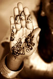 Henna Hand. An outstretched tatooed hand facing the palm Royalty Free Stock Photography