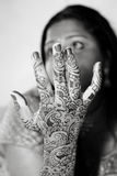 Henna Hand. A young Hindu Bride shows off her traditional Henna designs before the wedding royalty free stock images