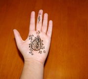 Henna on Hand. A woman's hand with freshly applied henna (Australia stock photos