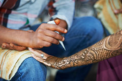 Henna hand decoration tatoo Stock Images