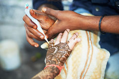 Henna hand decoration tatoo Royalty Free Stock Photos