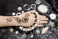 Henna on hand Stock Photos