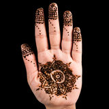 Henna hand tattoo decoration art clipping path square Stock Photography