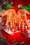 Henna hands. A girl in india with henna designs on her hands holding them palm up towards the camera stock images