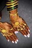 Henna hands. An indian bride holds out her henna hands Royalty Free Stock Photo
