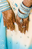 Henna hands. An indian bride holds out her henna hands Royalty Free Stock Photos