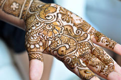 Henna on Hands. A shot of Henna on Hands done in India royalty free stock photos