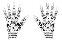 Henna hands. Illustration of hands decoratively painted with henna, a tradition of India Royalty Free Stock Image
