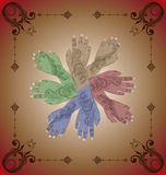 Henna Hands. 4 sets of Henna-decorated hands in different colours with ornament frame Stock Photos