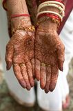Henna on hands of bride from India royalty free stock image