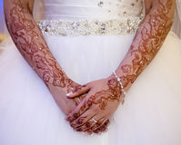 Henna hands stock image