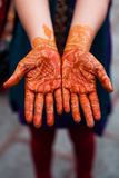 Henna On Hands. Indian Wedding Bride,henna tattoos royalty free stock photos