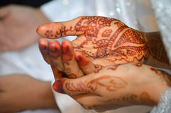 Henna On Hands. Of Indonesian Wedding Bride Royalty Free Stock Images
