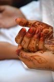 Henna On Hands. Of Indonesian Wedding Bride Stock Photos