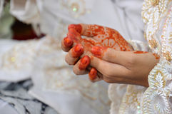 Henna On Hands. Of Indonesian Wedding Bride Royalty Free Stock Photos