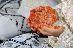 Henna On Hands. Of Indonesian Wedding Bride Stock Photography